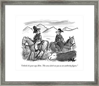 I Think It's Your Cap Framed Print by Warren Miller