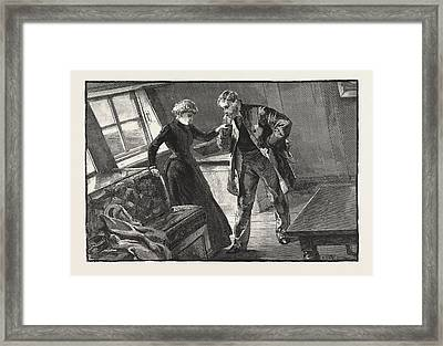 I Took Her Hand And Lifted It To My Lips Framed Print by Overend, William Heysham (1851-1898), British