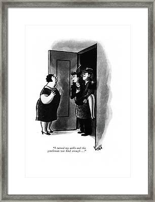 I Turned My Ankle And This Gentleman Was Kind Framed Print by Sydney Hoff