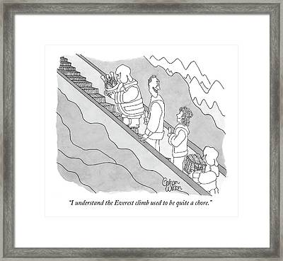 I Understand The Everest Climb Used Framed Print by Gahan Wilson