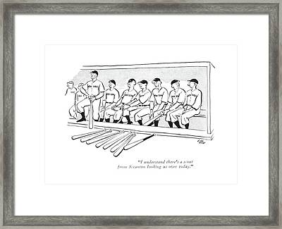 I Understand There's A Scout From Scranton Framed Print by Carl Rose