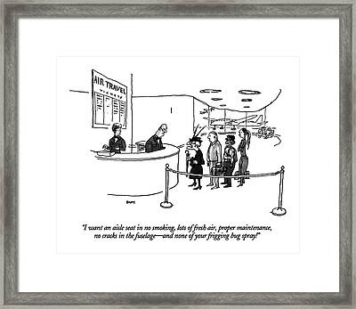 I Want An Aisle Seat In No Smoking Framed Print by George Booth