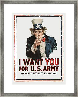 Framed Print featuring the mixed media I Want You by Presented By American Classic Art