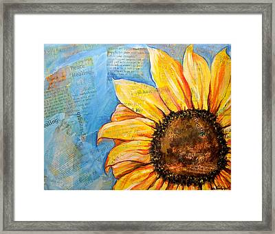I Will Have No Fear Sunflower Framed Print by Lisa Fiedler Jaworski