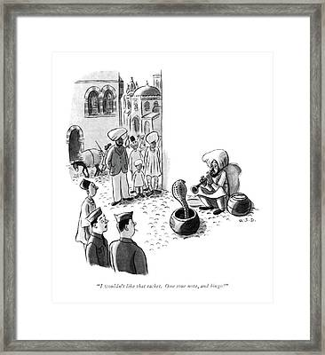 I Wouldn't Like That Racket. One Sour Note Framed Print by Robert J. Day