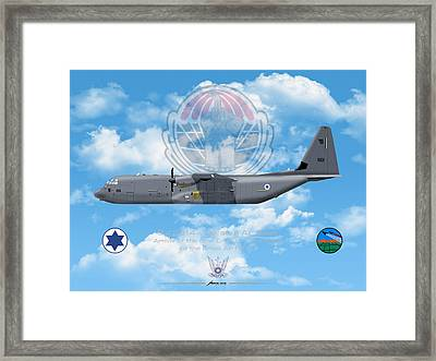 Framed Print featuring the drawing Iaf C-130j Shimshon by Amos Dor