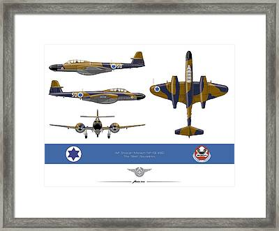 Framed Print featuring the drawing Iaf Gloster Meteor Nf 13 Nr 50 by Amos Dor