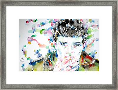 Ian Curtis Smoking Cigarette Watercolor Portrait Framed Print by Fabrizio Cassetta
