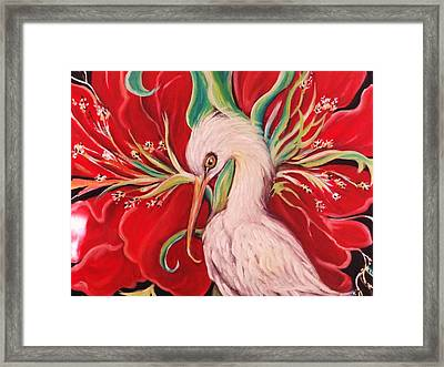 Ibis And Red Flower Framed Print