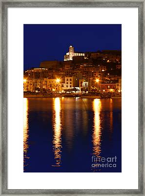 Ibiza Old Town At Night Framed Print by Rosemary Calvert