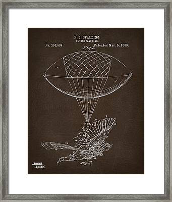 Framed Print featuring the drawing Icarus Airborn Patent Artwork Espresso by Nikki Marie Smith
