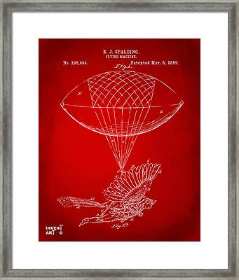 Icarus Airborn Patent Artwork Red Framed Print by Nikki Marie Smith