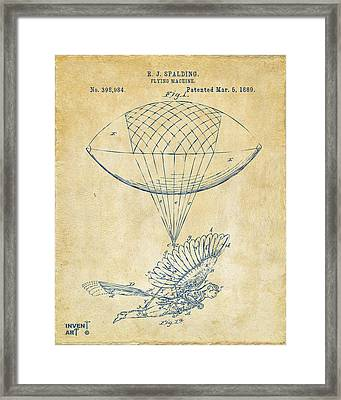 Icarus Airborn Patent Artwork Vintage Framed Print by Nikki Marie Smith