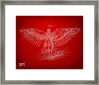 Icarus Flying Machine Patent Artwork Red Framed Print