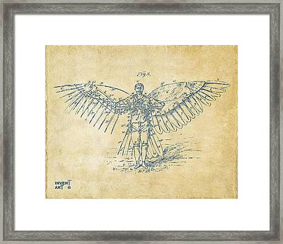 Icarus Flying Machine Patent Artwork Vintage Framed Print by Nikki Marie Smith