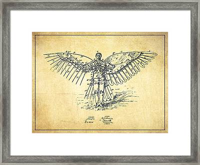 Icarus Flying Machine Patent Drawing-vintage Framed Print by Aged Pixel