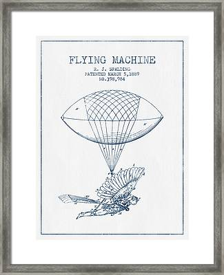 Icarus Flying Machine Patent From 1889- Blue Ink Framed Print by Aged Pixel