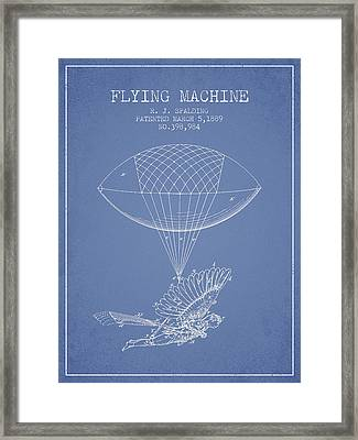Icarus Flying Machine Patent From 1889 - Light Blue Framed Print by Aged Pixel