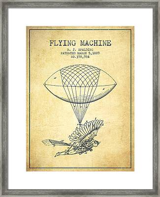 Icarus Flying Machine Patent From 1889 - Vintage Framed Print by Aged Pixel