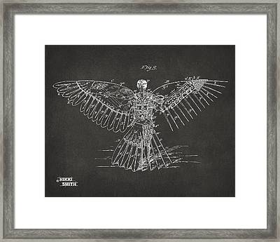 Icarus Human Flight Patent Artwork - Gray Framed Print by Nikki Marie Smith