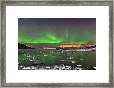 Ice And Auroras Framed Print by Frank Olsen