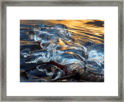 Ice At Sunset Framed Print by Dianne Cowen