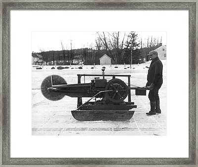 Ice Block Cutting Machine Framed Print by Underwood Archives