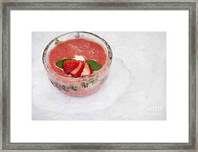 Ice Bowl Filled With Cold Strawberry Rhubarb Soup Framed Print