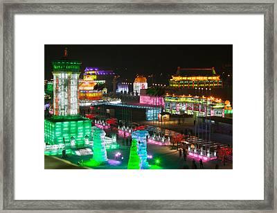 Ice Buildings At The Harbin Framed Print
