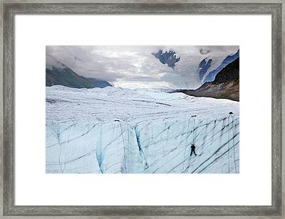 Ice Climber On A Glacier Framed Print by Jim West