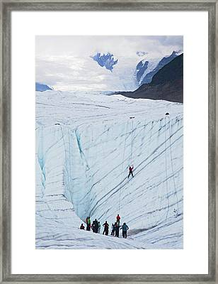 Ice-climbing Class On A Glacier Framed Print by Jim West