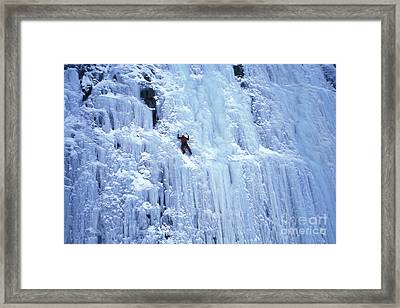 Ice Climbing Framed Print by Mark Newman