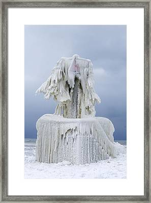 Ice Covered Warning Tower Along Lake Michigan In St. Joseph Michigan Framed Print by Peter Ciro