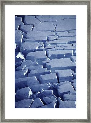 Ice Cravasses In Glacier Alaska Close-up Framed Print by Chris Arend