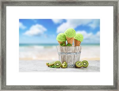 Ice Cream At The Beach Framed Print