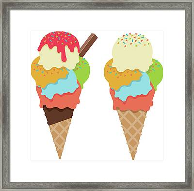 Ice Cream Cones With Sprinkles And Framed Print by Stevegraham