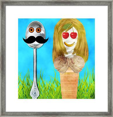 Framed Print featuring the digital art Ice Cream Couple by Ally  White