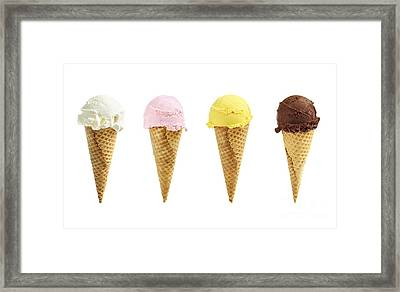 Ice Cream In Sugar Cones Framed Print