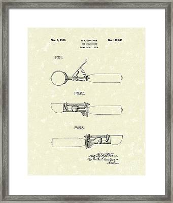 Ice Cream Scoop 1938 Patent Art Framed Print by Prior Art Design