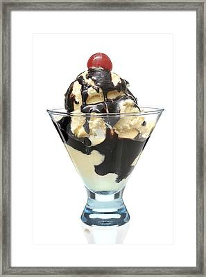 Ice Cream With Chocolate Syrup Framed Print by Donald  Erickson