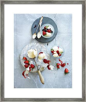 Ice Cream With Strawberries Framed Print by Annabelle Breakey