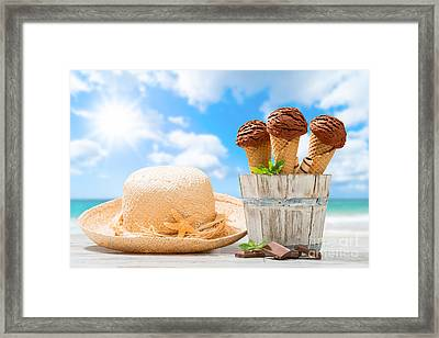 Ice Creams At The Beach Framed Print