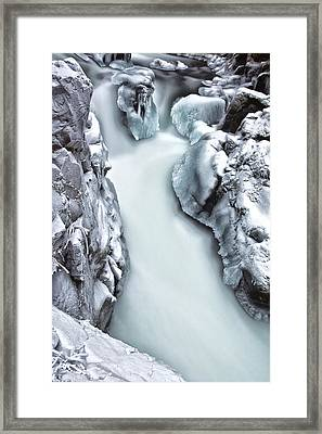 Ice Creek Cascade Framed Print by Darren  White