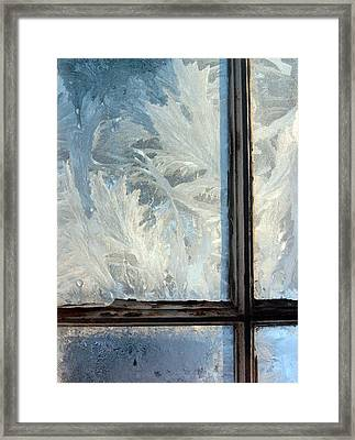 Ice Crystals On Windowpanes Framed Print
