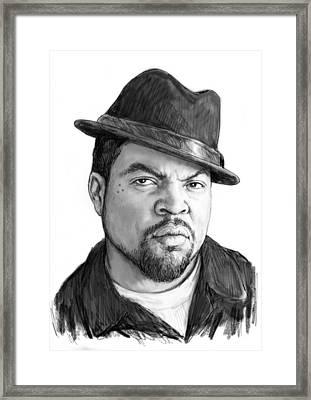 Ice Cube Art Drawing Sketch Portrait Framed Print by Kim Wang