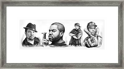 Ice Cube Blackwhite Group Art Drawing Sketch Poster Framed Print by Kim Wang