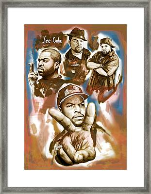 Ice Cube Group Drawing Pop Art Sketch Poster Framed Print by Kim Wang