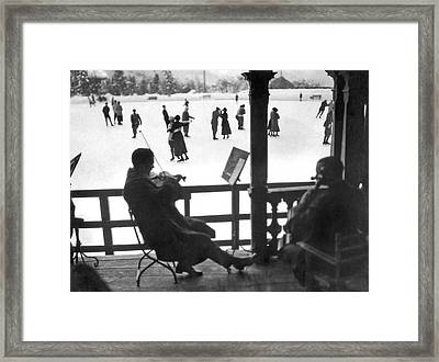 Ice Dancing In Switzerland Framed Print by Underwood Archives