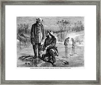 Ice Fishing, 1868 Framed Print by Granger