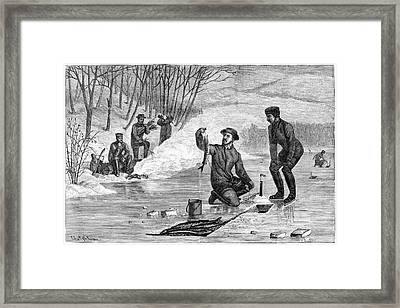 Ice Fishing, 1874 Framed Print by Granger
